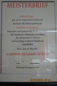 Meisterbrief Roland Krüger